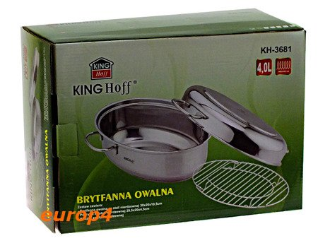 BRYTFANNA Kinghoff KH 3681 GĘSIARKA STALOWA +Patelnia ruszt pokrywka