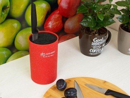 Blok Edenberg EB 5102 R uniwersalny stojak do noży kuchennych czerwony marmur