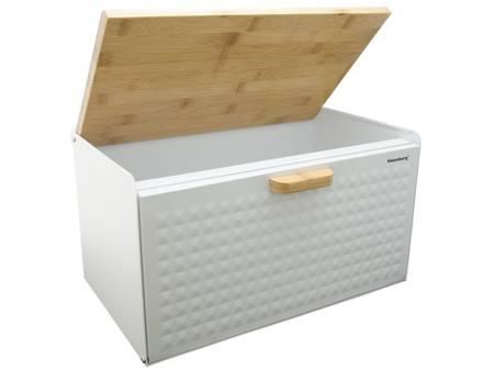 Chlebak metalowy z drewnianą deską Klausberg KB 7427 pojemnik na pieczywo biały