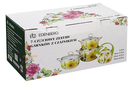 Garnki Edenberg EB 1837 zestaw garnków emaliowanych, indukcyjnych z czajnikiem