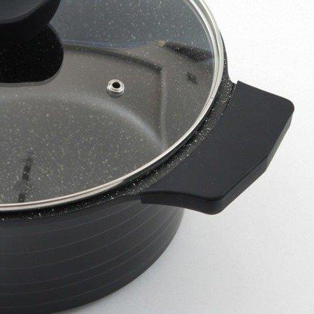 Garnki granitowe Klausberg KB 7355 Zestaw garnków indukcyjnych Fresco czarne+noże BH 2111