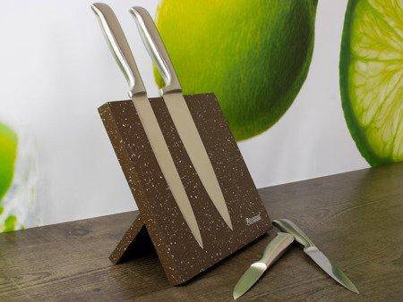 Magnetyczny stojak Rossner T 8094 na noże kuchenne Brązowy marmur nakrapiany