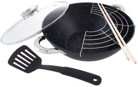 Patelnia żeliwna wok Kamille 4806MR żeliwna 28cm z pokrywką i sztućcami indukcja gaz