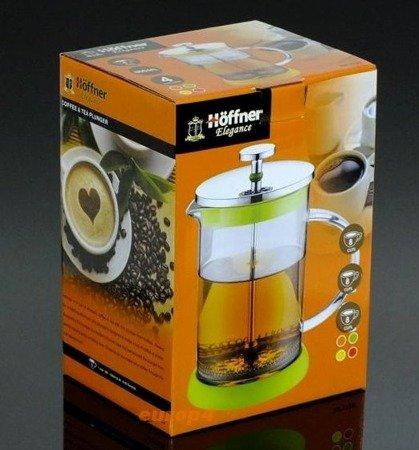 Szklany zaparzacz Hoffner HF 1128 do herbaty 600 ml ziół kawy dzbanek czerwony