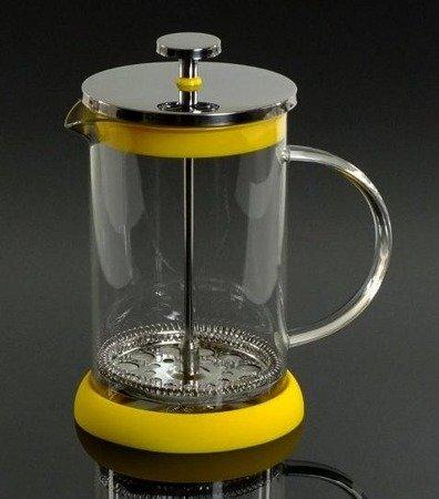 Szklany zaparzacz Hoffner HF 1129 do herbaty 800 ml ziół kawy dzbanek 0,8L żółty