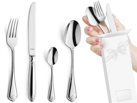 Sztućce obiadowe masywne Amefa Duke 5280 48 elem /12 osób stal 18/10