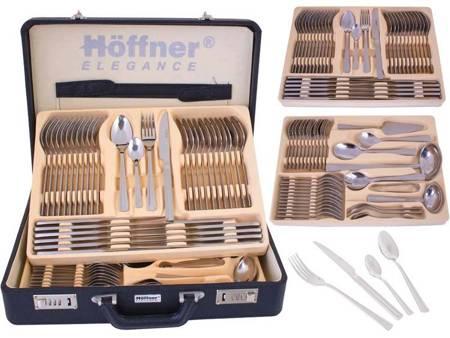 Sztućce w walizce Hoffner HF 2742 72 elementy 12 osób zestaw widelce+łyżki+walizka połysk