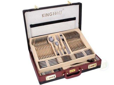 Sztućce w walizce KingHoff EH 3509 72 elementy 12 osób zestaw widelce+łyżki+walizka połysk
